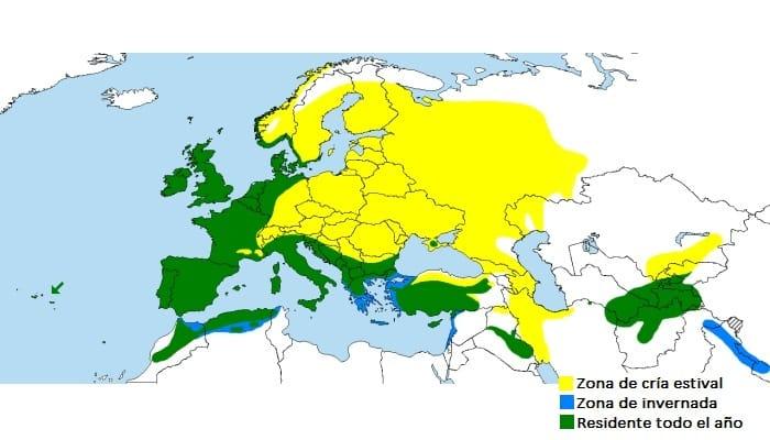 Distribución de la Paloma Torcaz (Columba palumbus)