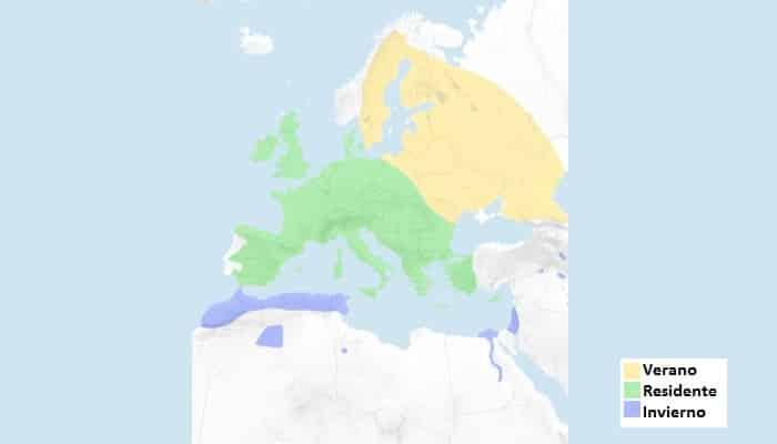 Distribución del Petirrojo Europeo