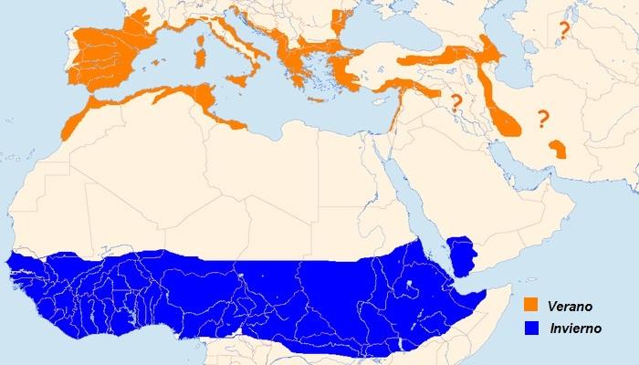 Distribución del alcaudón común (Lanius senator)