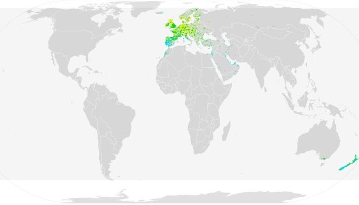 Distribución del zorzal común (Turdus philomelos)